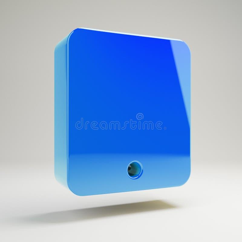 Volumetrisch glanzend blauw tabletpictogram dat op witte achtergrond wordt geïsoleerd stock illustratie