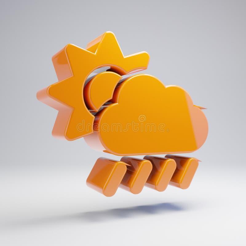 Volumetrisch glanzend heet oranje de Regenpictogram van de Wolkenzon op witte achtergrond stock illustratie