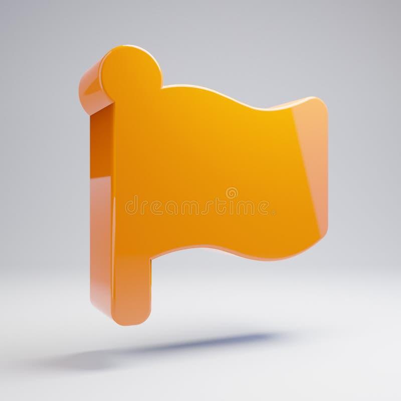 Volumetrisch glanzend heet oranje die Vlagpictogram op witte achtergrond wordt geïsoleerd royalty-vrije stock foto