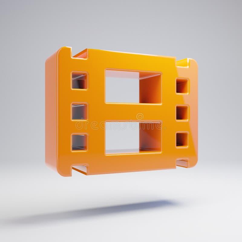 Volumetrisch glanzend heet oranje Filmpictogram dat op witte achtergrond wordt geïsoleerd vector illustratie