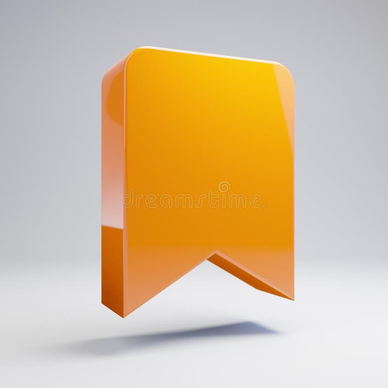 Volumetrisch glanzend heet oranje Referentiepictogram dat op witte achtergrond wordt geïsoleerd vector illustratie