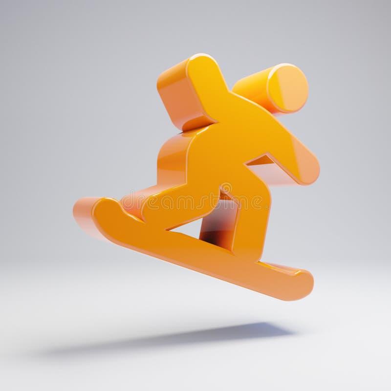Volumetrisch glanzend heet oranje Snowboarding-pictogram dat op witte achtergrond wordt geïsoleerd royalty-vrije illustratie