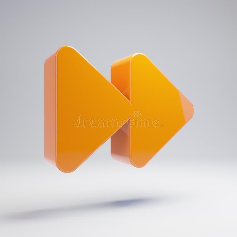 Volumetrisch glanzend heet oranje Voorwaarts die pictogram op witte achtergrond wordt geïsoleerd royalty-vrije stock afbeeldingen