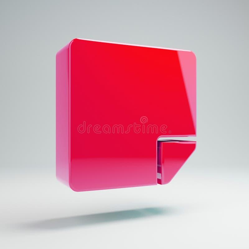 Volumetrisch glanzend heet roze die kleverig-notapictogram op witte achtergrond wordt geïsoleerd stock illustratie
