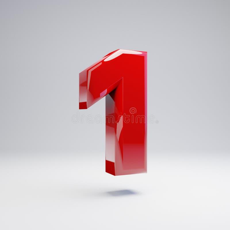 Volumetrisch glanzend rood nummer 1 dat op witte achtergrond wordt geïsoleerd vector illustratie