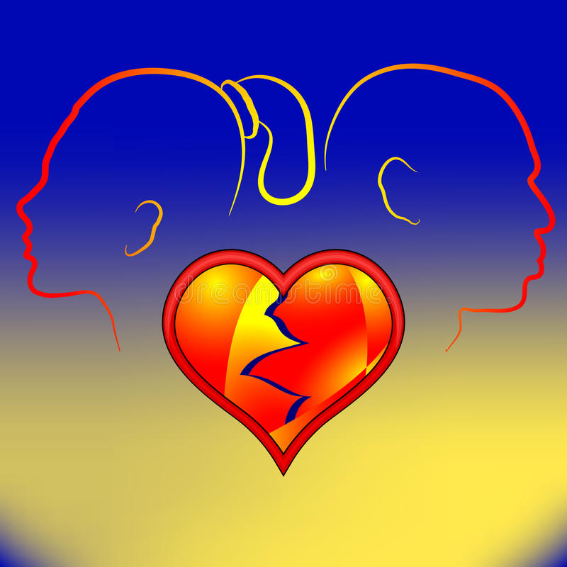 Volumetrisch rood gebarsten hart Silhouetman en vrouw in quar stock illustratie