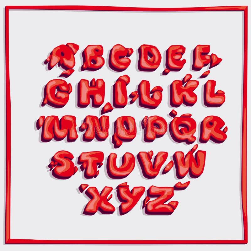 Volumetrische glanzende brieven van onregelmatige vorm, helder rood royalty-vrije illustratie