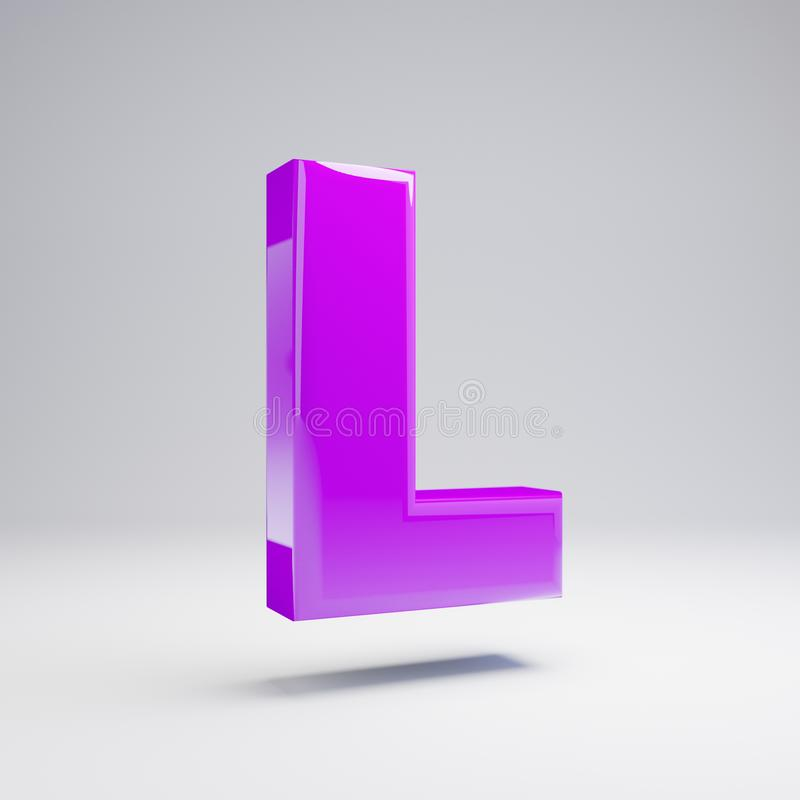 Volumetrische glanzende violette die hoofdletter L op witte achtergrond wordt geïsoleerd stock illustratie