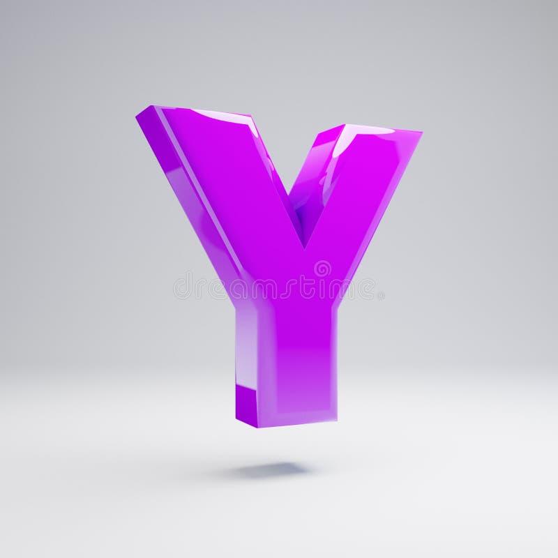Volumetrische glanzende violette hoofdletter Y die op witte achtergrond wordt geïsoleerd stock illustratie