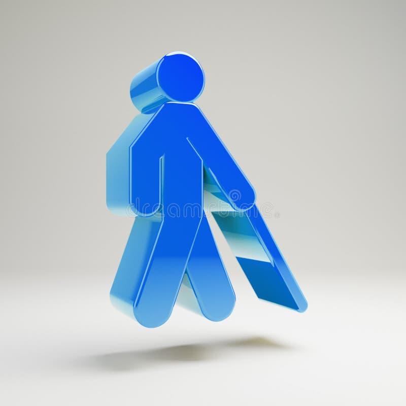 Volumetrische glatte blaue blinde Ikone lokalisiert auf weißem Hintergrund vektor abbildung