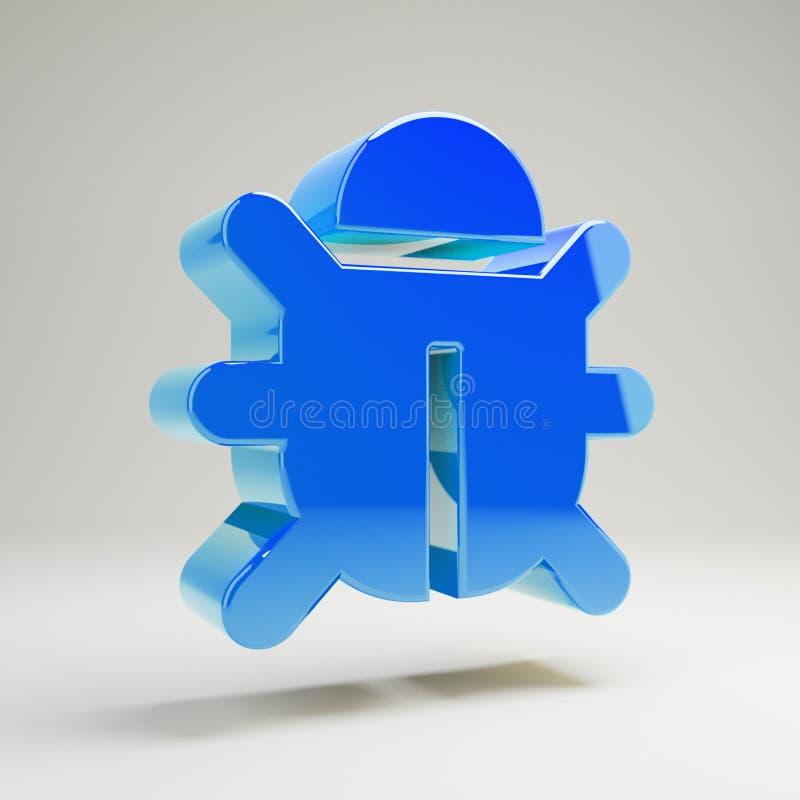 Volumetrische glatte blaue Wanzenikone lokalisiert auf weißem Hintergrund vektor abbildung