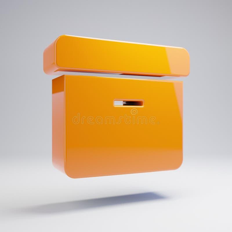 Volumetrische glatte heiße orange Archivikone lokalisiert auf weißem Hintergrund lizenzfreie abbildung
