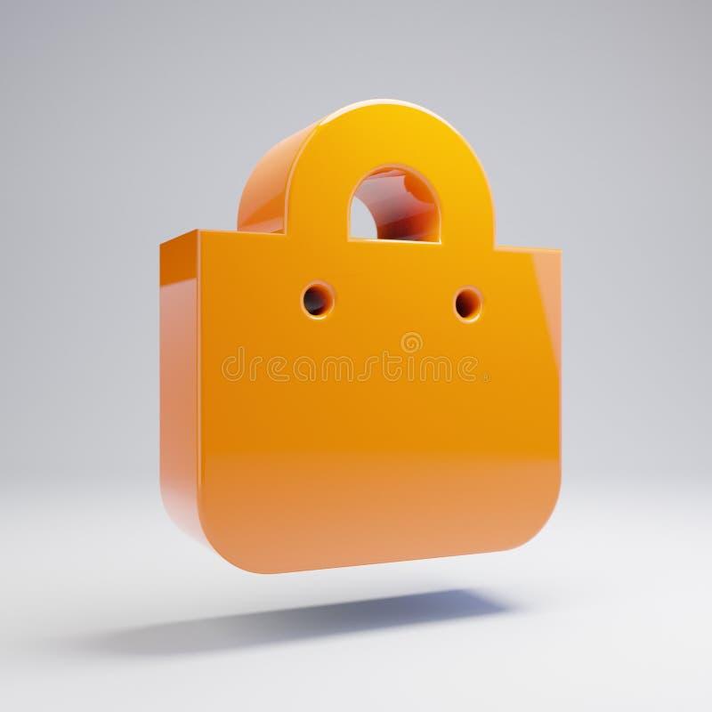 Volumetrische glatte heiße orange Einkaufstascheikone lokalisiert auf weißem Hintergrund vektor abbildung