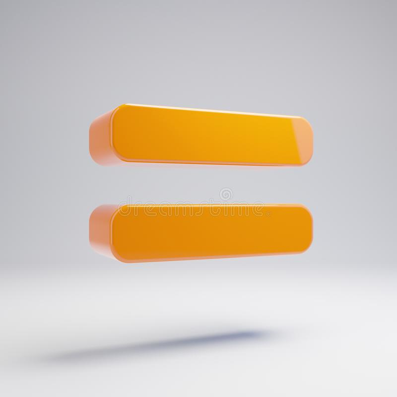Volumetrische glatte heiße orange Gleichgestelltikone lokalisiert auf weißem Hintergrund vektor abbildung