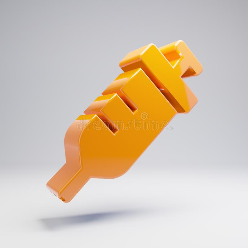 Volumetrische glatte heiße orange Spritzenikone lokalisiert auf weißem Hintergrund vektor abbildung