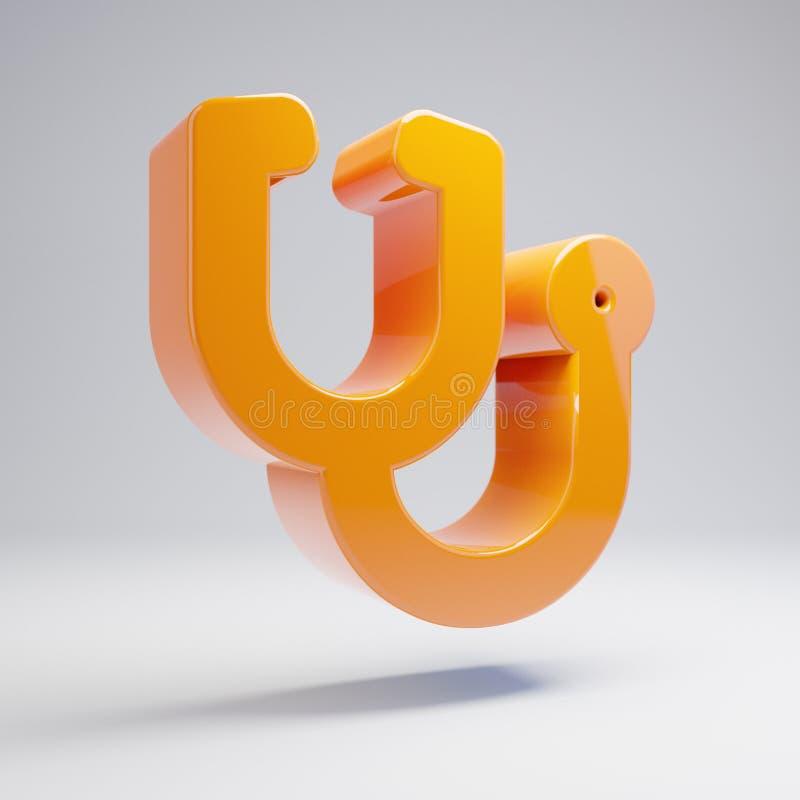 Volumetrische glatte heiße orange Stethoskopikone lokalisiert auf weißem Hintergrund lizenzfreie abbildung