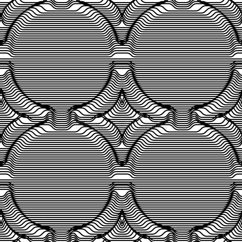 Volumetrische Raute des nahtlosen Musters von den Streifen Kunst der optischen Täuschung lizenzfreie abbildung