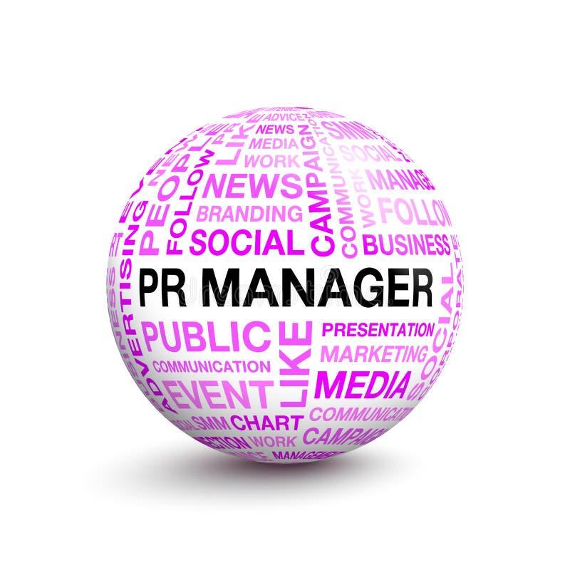 Volumetrischer Ball mit Wörtern auf dem Arbeit PR-MANAGER lizenzfreie abbildung