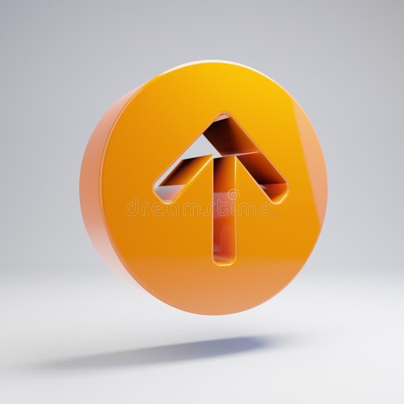 Volumetrischer glatter heißer orange Pfeil-Kreis herauf die Ikone lokalisiert auf weißem Hintergrund lizenzfreie abbildung
