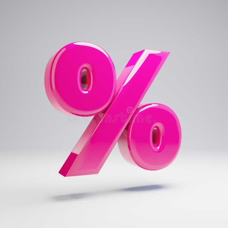 Volumetrisches glattes rosa Prozentsymbol lokalisiert auf weißem Hintergrund vektor abbildung