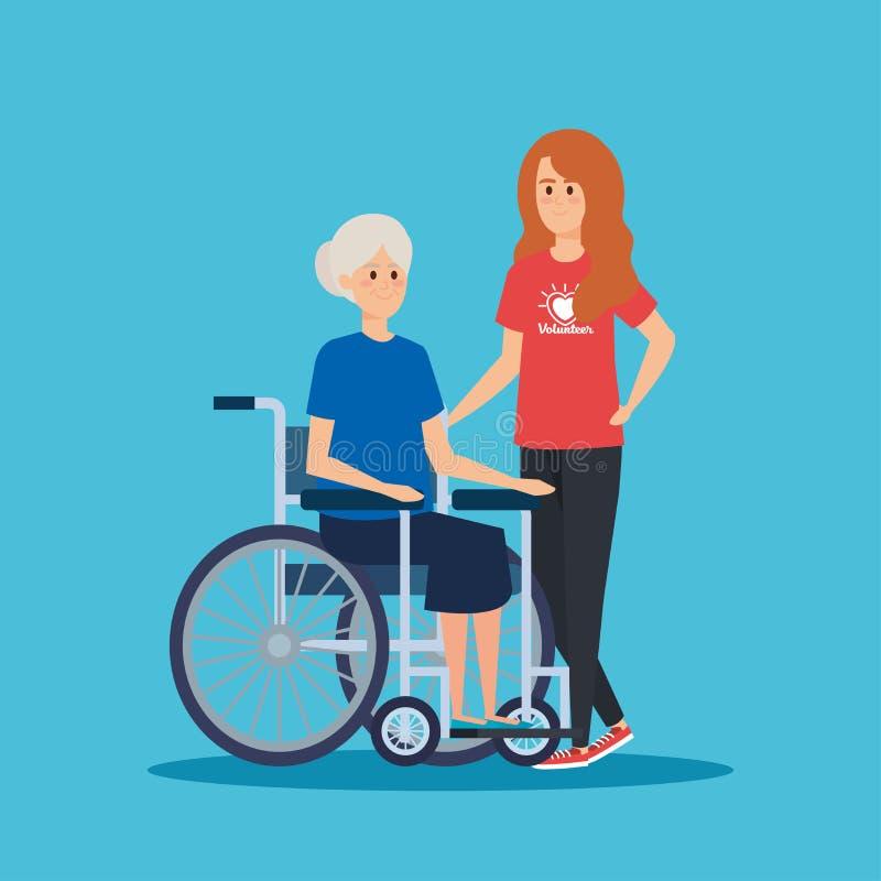 Voluntário da menina com a mulher adulta na cadeira de rodas ilustração royalty free