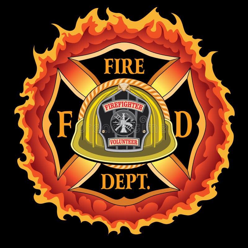 Voluntário transversal do capacete do amarelo do vintage do departamento dos bombeiros com chamas ilustração do vetor