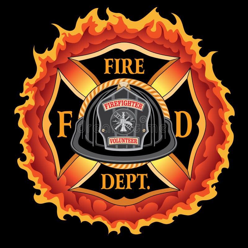 Voluntário transversal do capacete do preto do vintage do departamento dos bombeiros com chamas ilustração do vetor