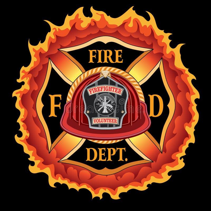 Voluntário vermelho do capacete do vintage transversal do departamento dos bombeiros com chamas ilustração royalty free