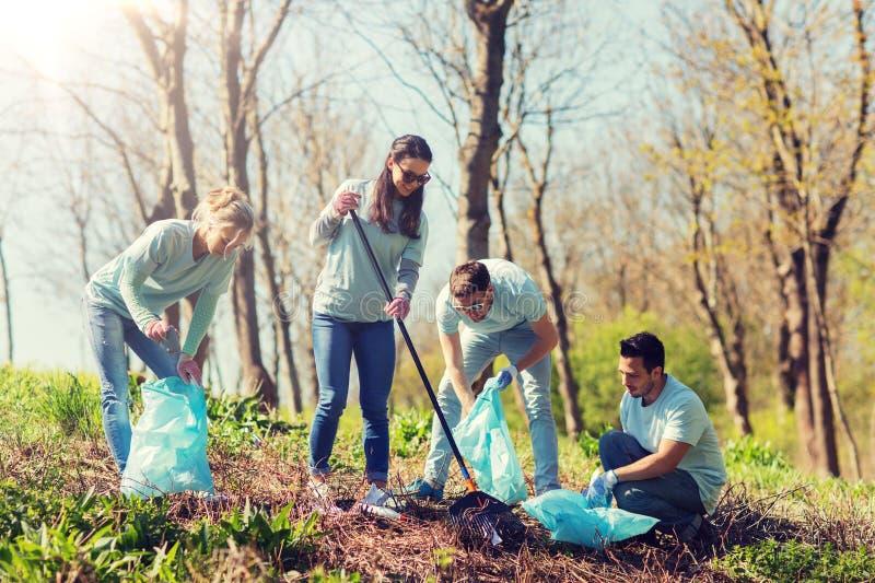 Voluntários com os sacos de lixo que limpam a área do parque imagens de stock royalty free