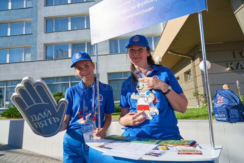 Voluntários 2018 da cidade anfitriã do campeonato do mundo de FIFA imagens de stock royalty free