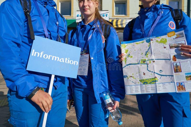Voluntários 2018 da cidade anfitriã do campeonato do mundo de FIFA fotografia de stock royalty free
