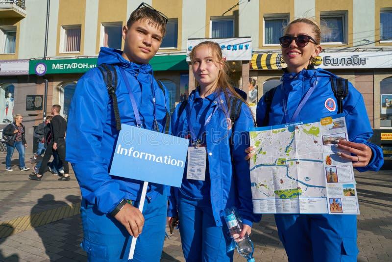 Voluntários 2018 da cidade anfitriã do campeonato do mundo de FIFA fotos de stock royalty free