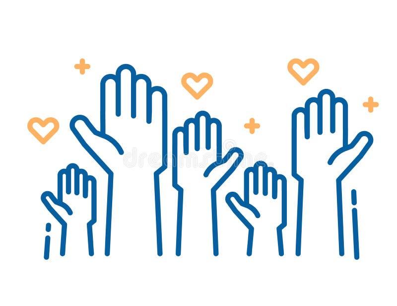 Voluntários e trabalho da caridade Mãos amiga levantadas Vector a linha fina ilustrações do ícone com uma multidão de povos pront ilustração do vetor