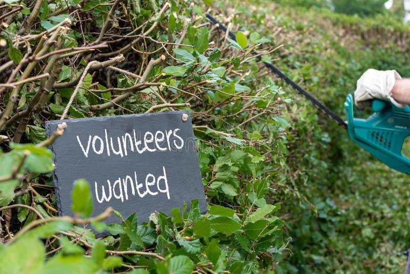 Voluntários necessários para o trabalho do jardim A frase 'voluntários quis ' imagens de stock