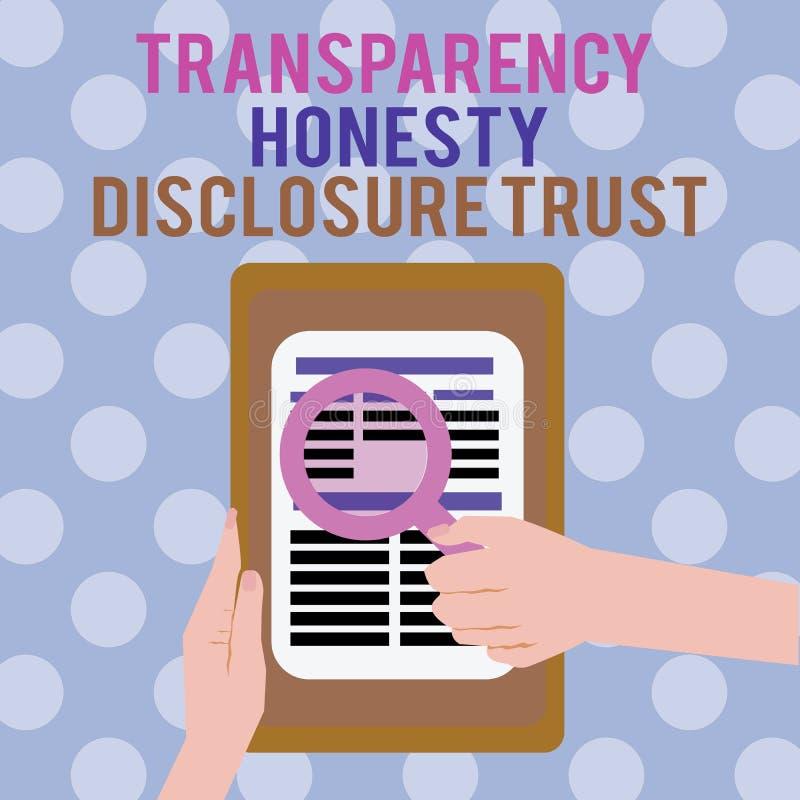 Voluntad corporativa conceptual del orden del día político de la foto de la confianza del acceso de la honradez de la transparenc ilustración del vector