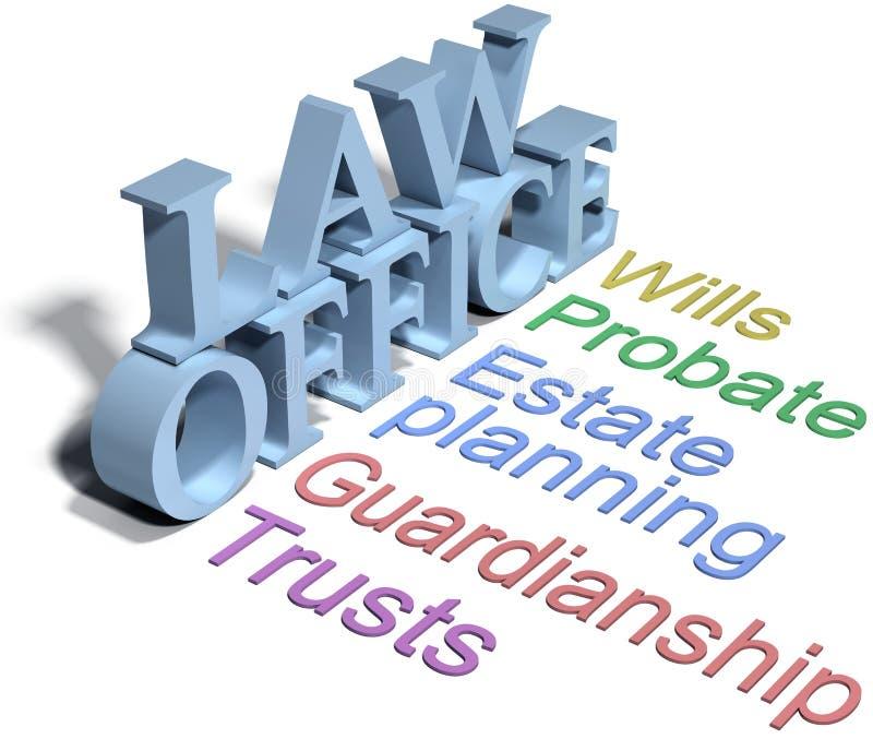 Voluntades de la asesoría jurídica del abogado del planeamiento de estado stock de ilustración