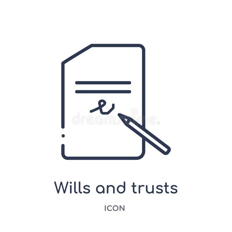 Voluntades e icono lineares de las confianzas de la colección del esquema de la ley y de la justicia Línea fina voluntades e icon libre illustration