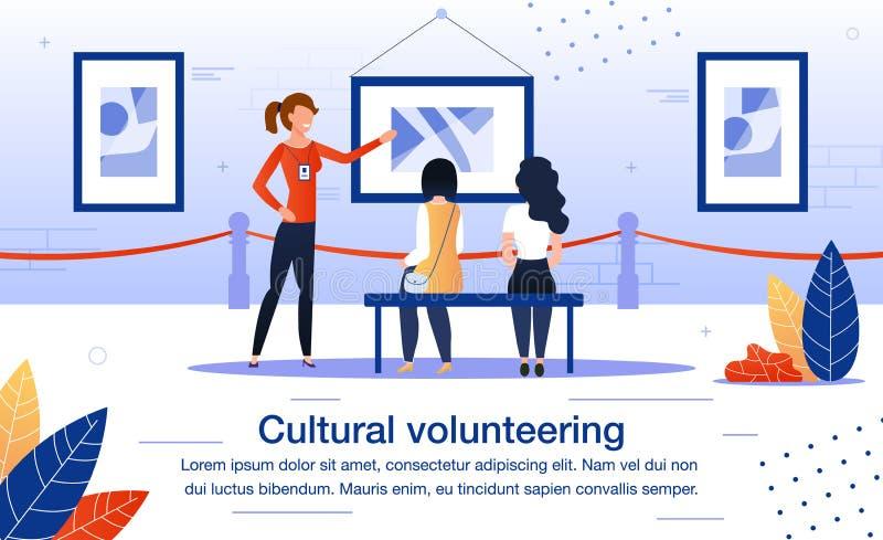 Voluntariado cultural en afiche de vector plano de museo ilustración del vector