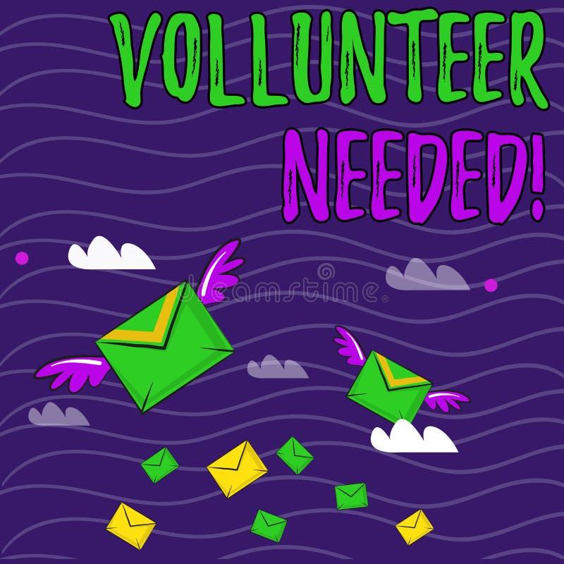 Voluntario de la demostraci?n de la muestra del texto necesario Trabajo conceptual de la necesidad de la foto para la organizaci? stock de ilustración