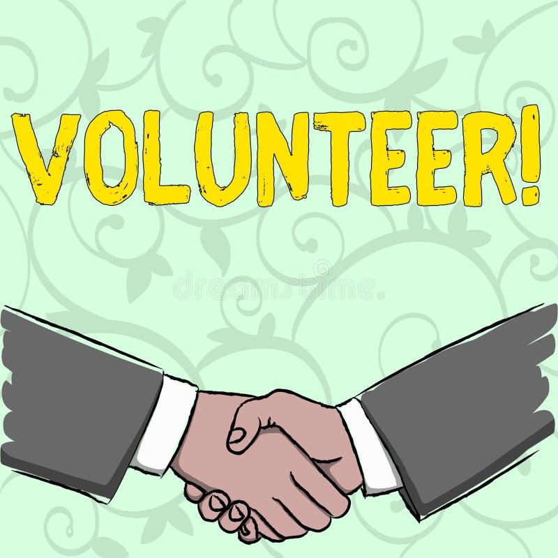 Voluntario de la escritura del texto de la escritura Significado del concepto que se ofrece voluntariamente al individuo para la  libre illustration