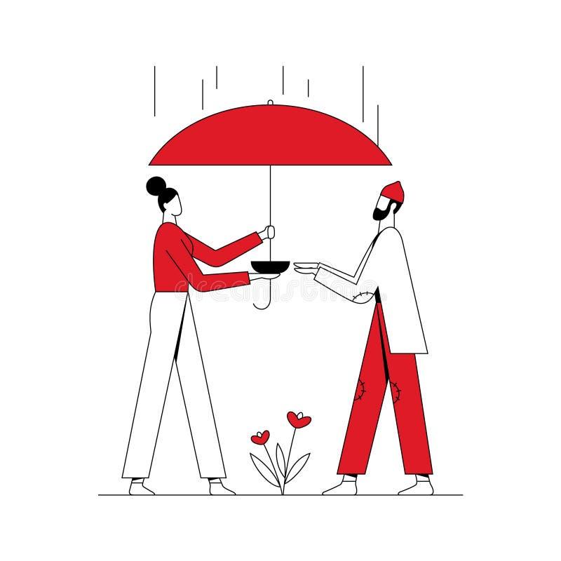 Voluntario de la mujer que da la comida a la persona sin hogar y que la cubre de la lluvia Concepto de la caridad L?nea con el mo libre illustration