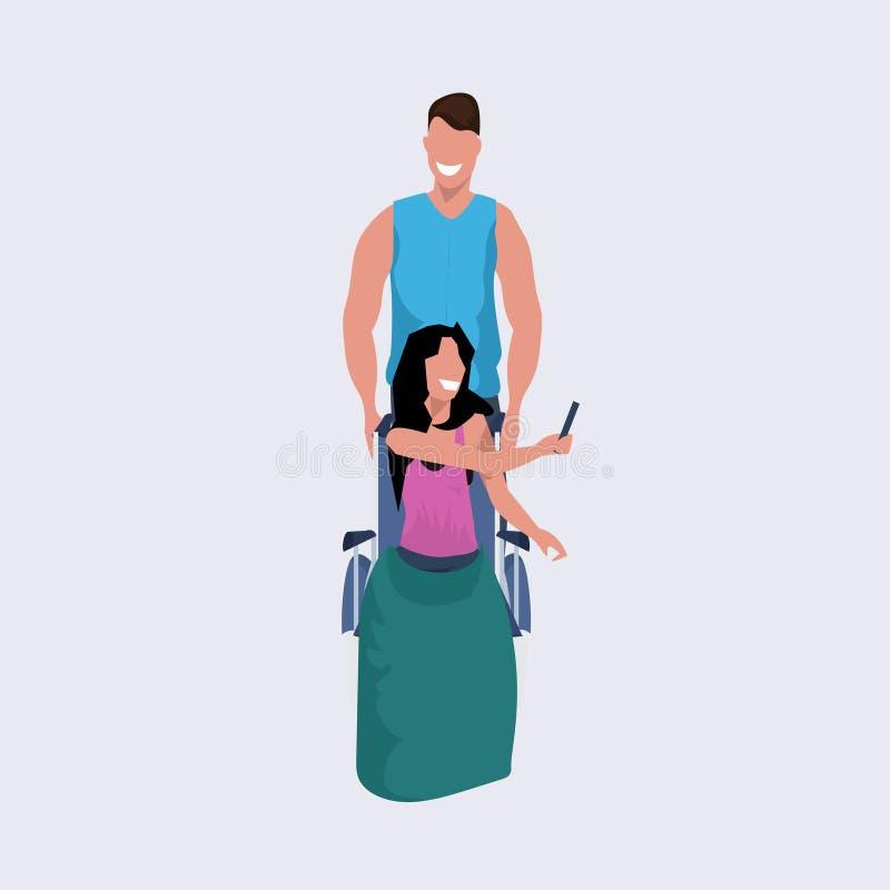 Voluntario del hombre joven que empuja a la mujer que se sienta en el individuo de la silla de ruedas que da un paseo ayudando al libre illustration