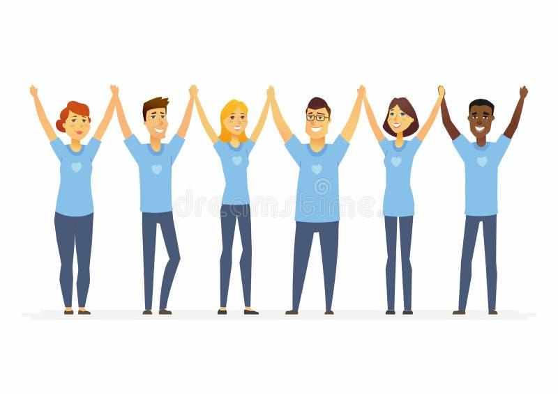 Voluntarios felices que llevan a cabo las manos - los caracteres de la gente de la historieta aislaron el ejemplo libre illustration