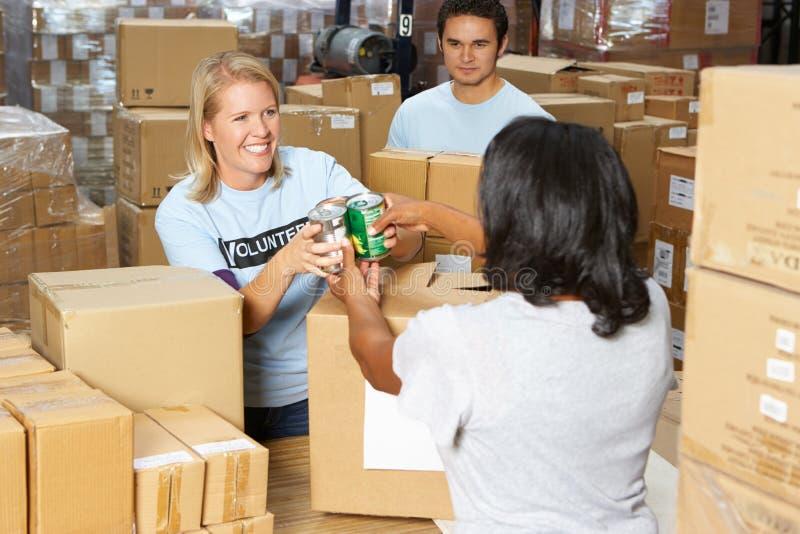 Voluntarios que recogen donaciones de la comida en Warehouse imagen de archivo libre de regalías