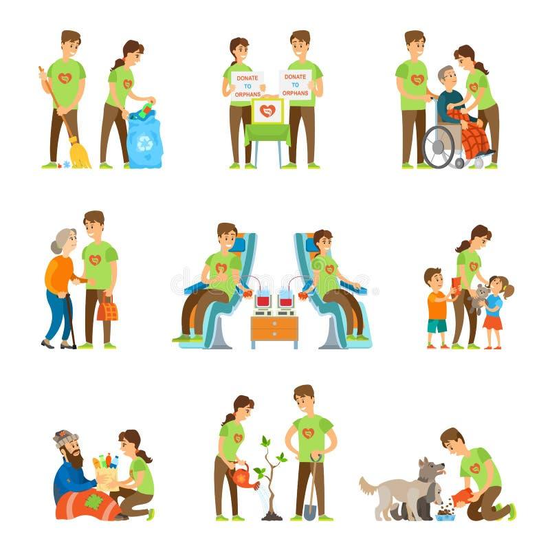 Voluntarios y ejemplo del vector del sistema de la caridad ilustración del vector