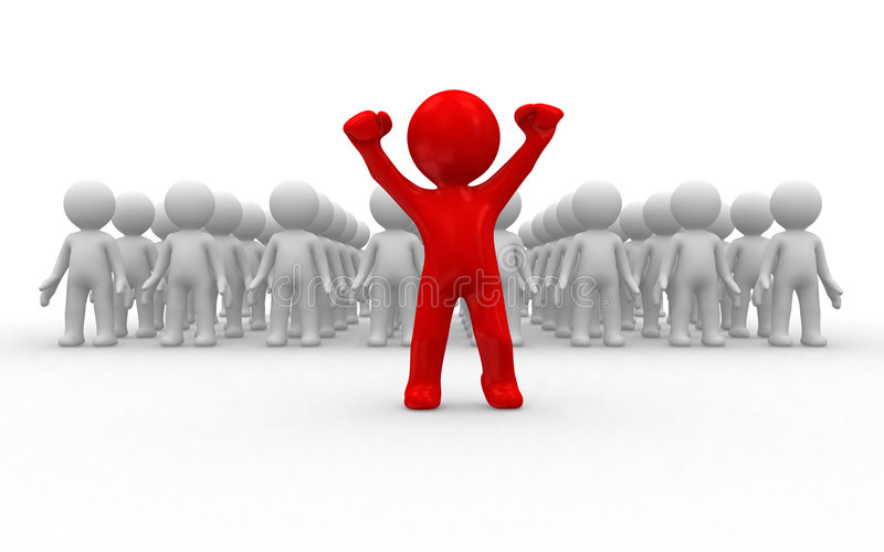 Volunteer. One 3d human stand out of the crowd