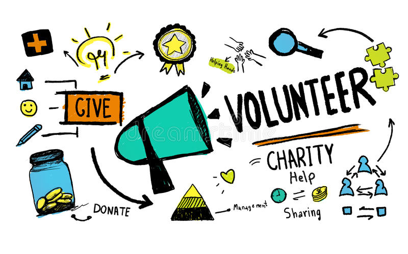 Volunteer Charity and Relief Work Donation Help Concept.  vector illustration