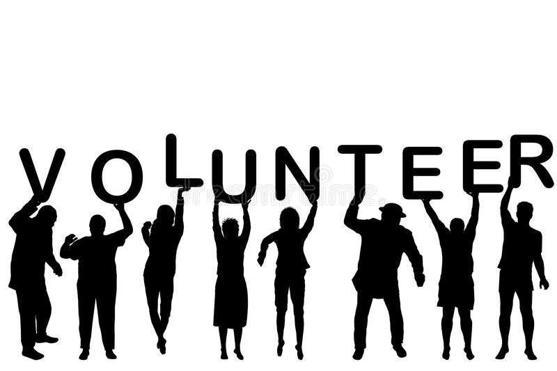Volunteer concept with people silhouettes royalty free illustration