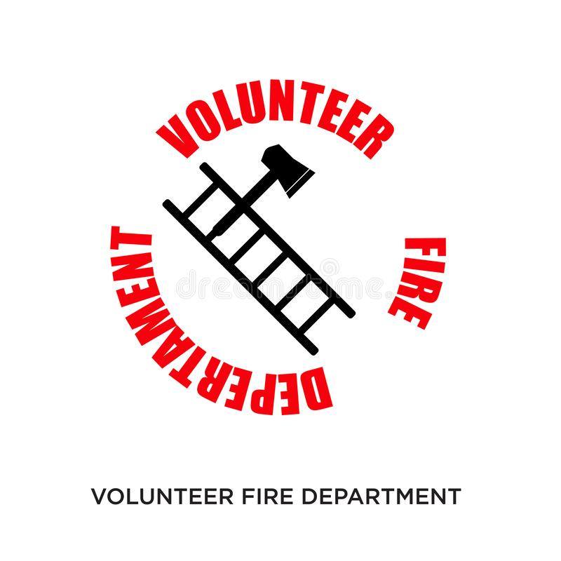Volunteer fire department logo. Isolated on white background,flat vector illustration can be used for web, mobile and print royalty free illustration