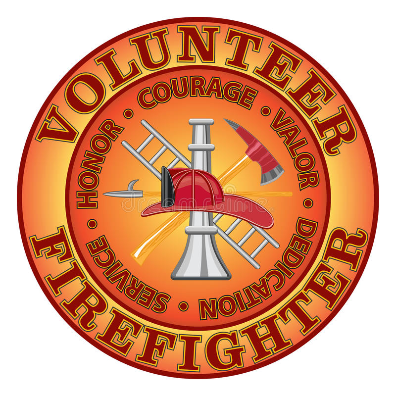 """Volunteer Firefighter Courage. Fire department or volunteer firefighter design with firefighter tools symbol encircled by """"Honor, Courage, Valor royalty free illustration"""